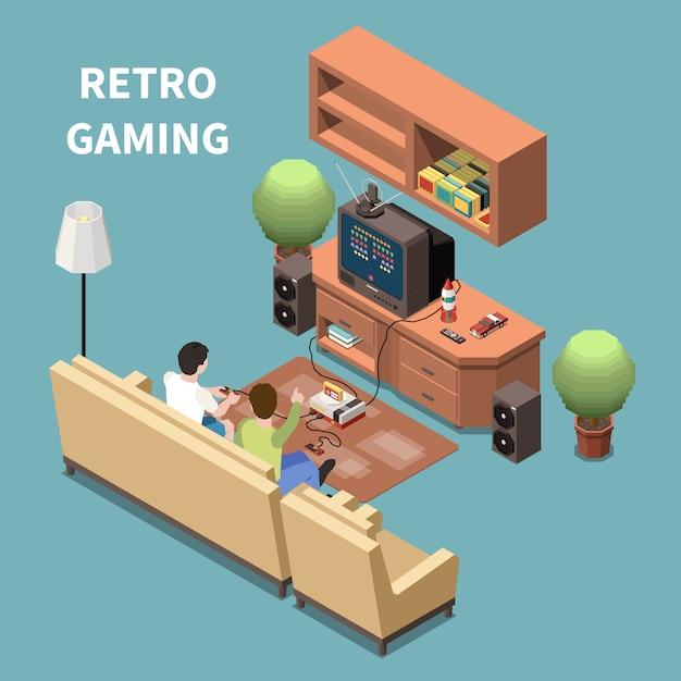 Gaming-gamers isometrische compositie met afbeeldingen van huiskamermeubilair met televisiespelapparaat en mensen Gratis Vector