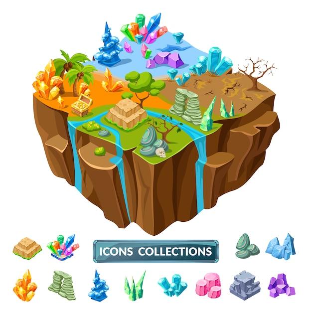 Gaming island en stenen isometrische pictogrammen Gratis Vector
