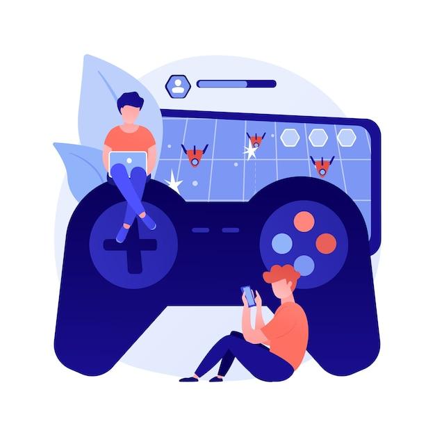 Gaming wanorde abstract concept vectorillustratie. videogameverslaafde, verminderde aandachtsspanne, gameverslaving, gedragsstoornis, geestelijke gezondheid, abstracte metafoor voor medische toestand. Gratis Vector