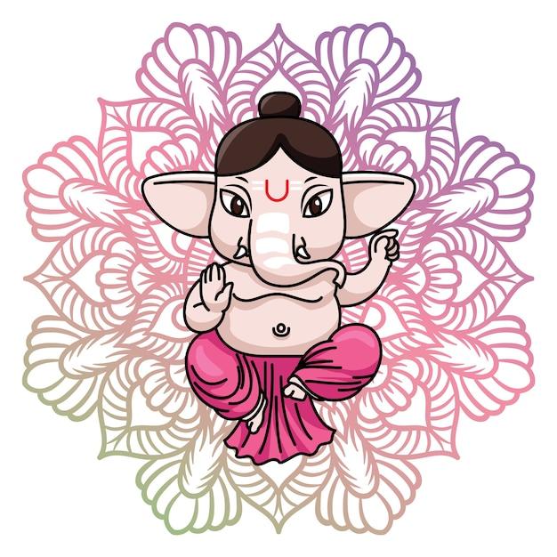 Ganesha achtergrond ontwerp Gratis Vector