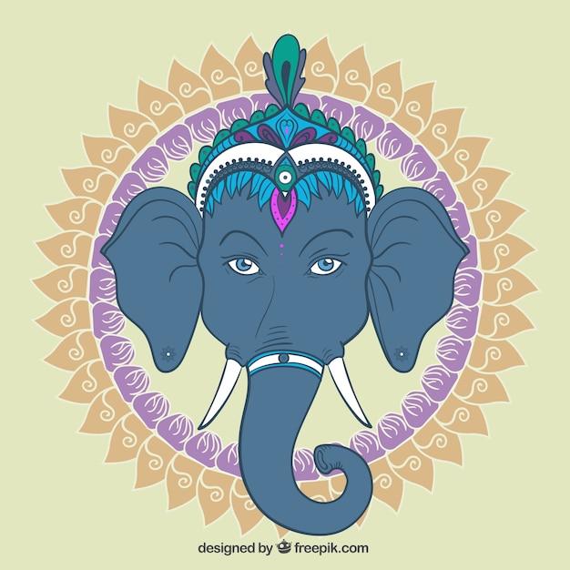 Ganesha met sier-cirkel Premium Vector
