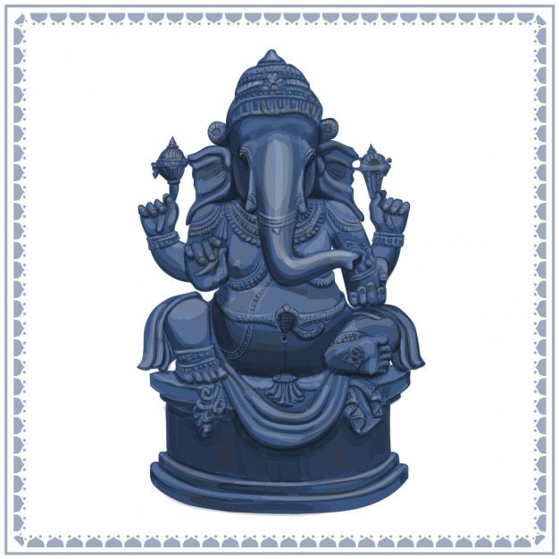 Ganesha statue hand getrokken illustratie Gratis Vector