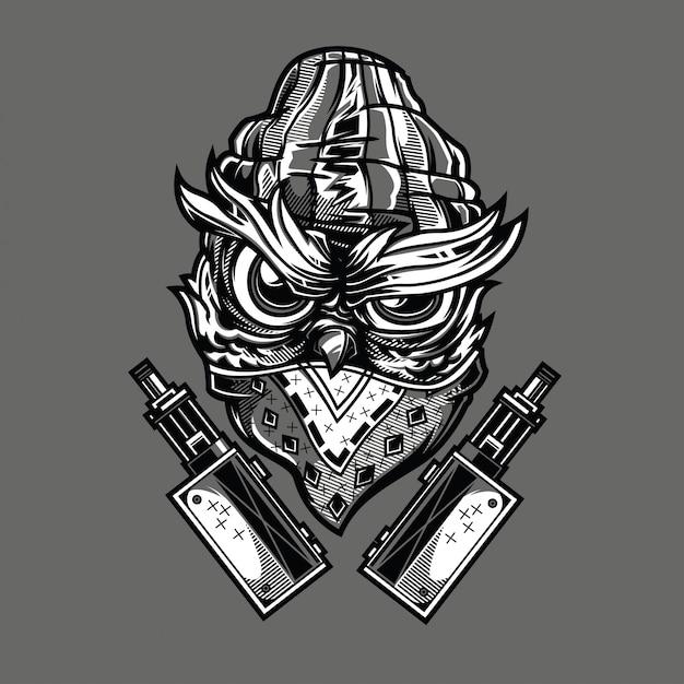 Gangsta owl zwart en wit illustratie Premium Vector