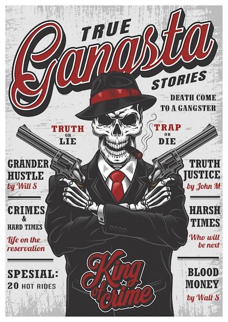 Gangsta skelet tijdschrift Gratis Vector