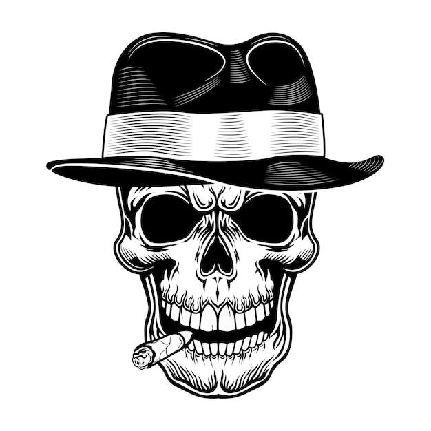 Gangster schedel vectorillustratie. hoofd van skelet in hoed met sigaar in mond. crimineel en maffiaconcept voor bendeemblemen of tattoo-sjablonen Gratis Vector