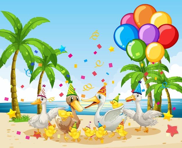 Gans groep in partij thema stripfiguur op strand achtergrond Premium Vector