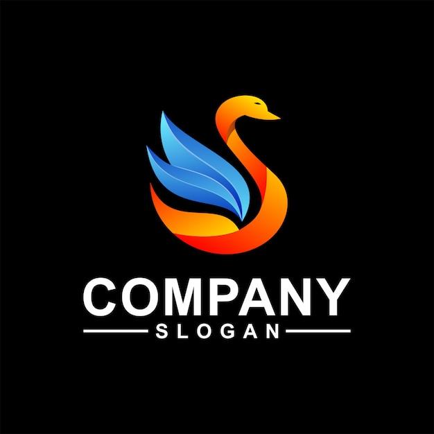 Gans logo ontwerp Premium Vector