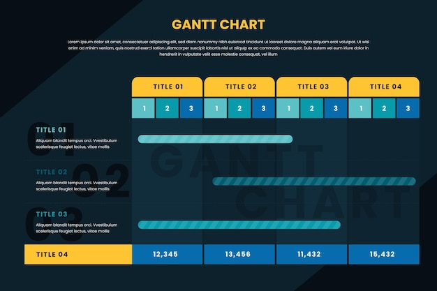 Gantt-diagram infographic Gratis Vector
