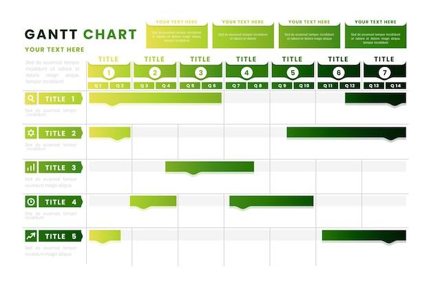 Gantt-diagram met groene kleurovergang Premium Vector