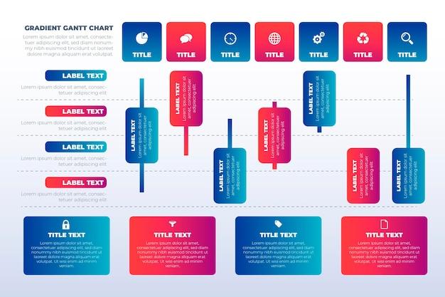 Gantt-diagram met kleurovergang Gratis Vector