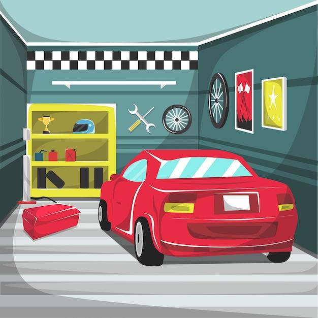 Garage cars racing interieur Premium Vector