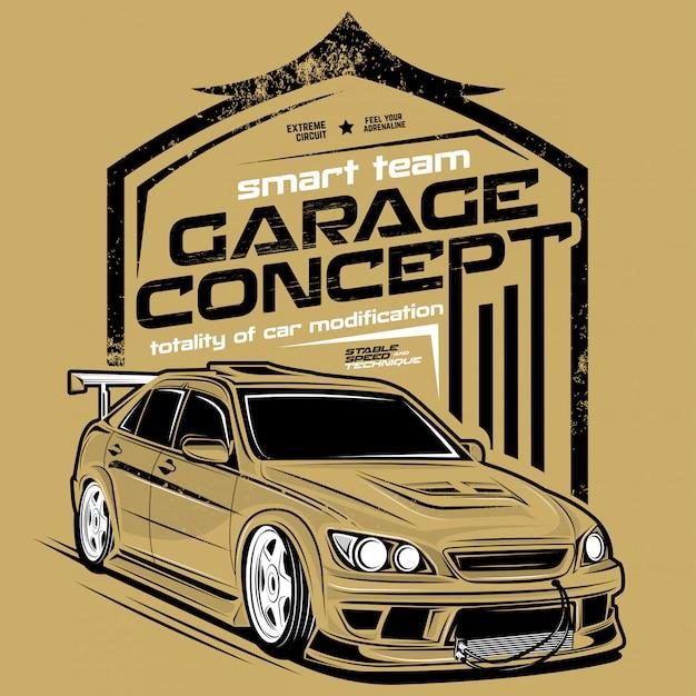 Garage concept, super auto illustraties Premium Vector