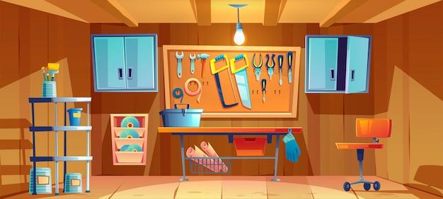 Garage interieur met instrumenten voor reparatiewerkzaamheden Gratis Vector