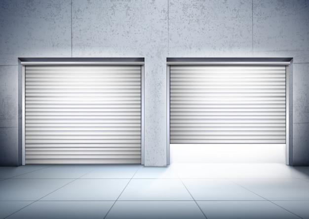 Garage met twee ingangen samenstelling Gratis Vector
