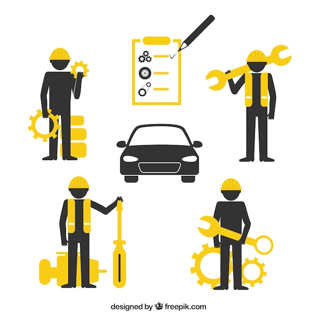 Garage pictogrammen Premium Vector