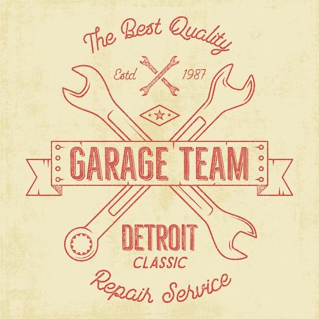 Garageservice vintage badge Premium Vector