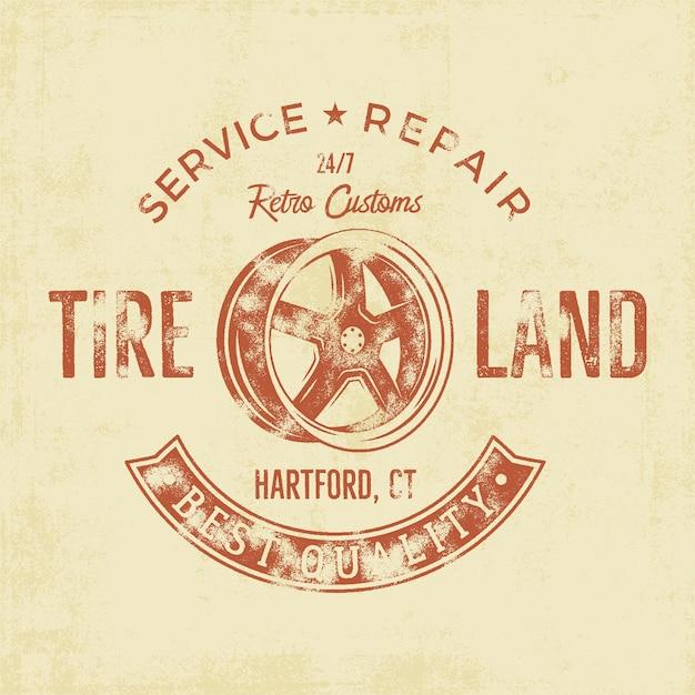 Garageservice vintage tee-badge Premium Vector