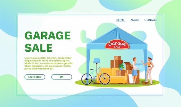 Garageverkoop platte illustraties set Premium Vector