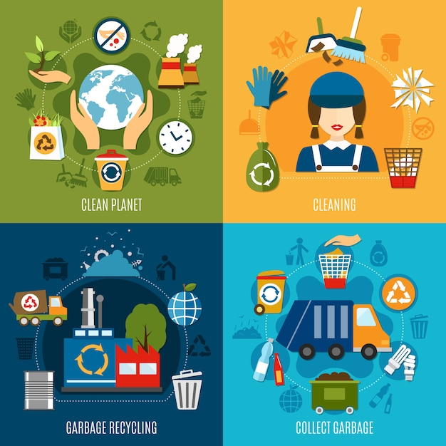 Garbage collecting concept Gratis Vector