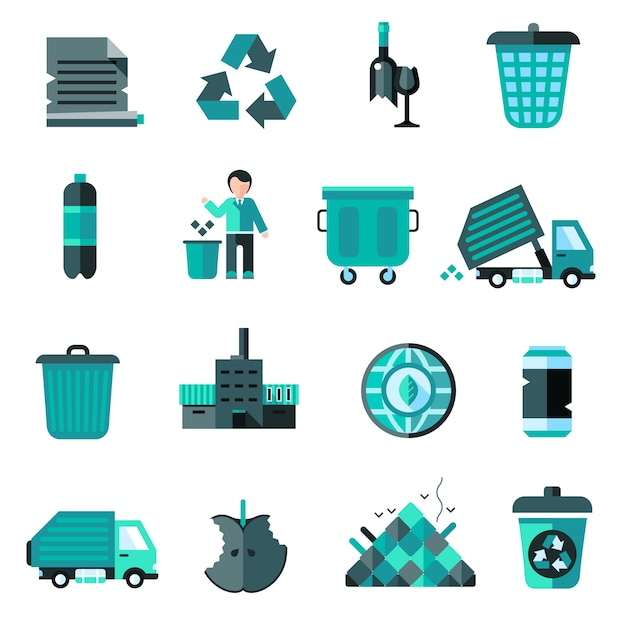 Garbage icons set Gratis Vector