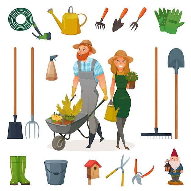 Gardening cartoon icon set Gratis Vector