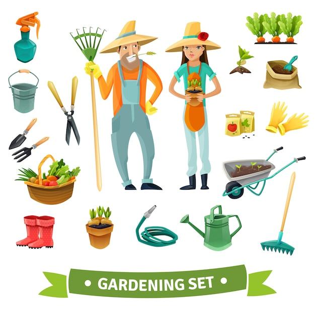 Gardening cartoon set Gratis Vector