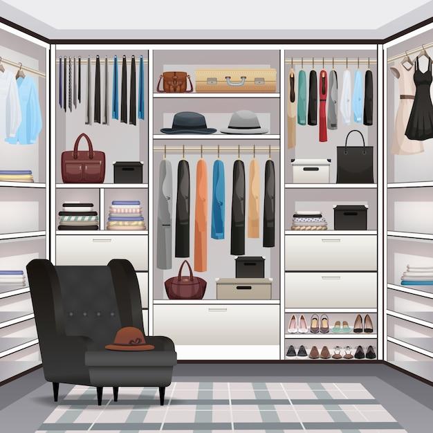 Garderobe garderobe interieur realistisch Gratis Vector