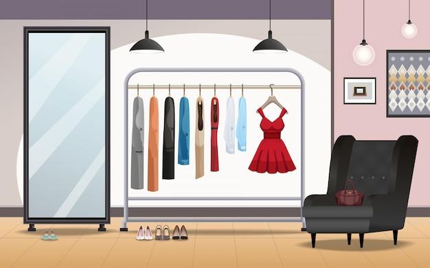 Garderobe interieur realistisch Gratis Vector