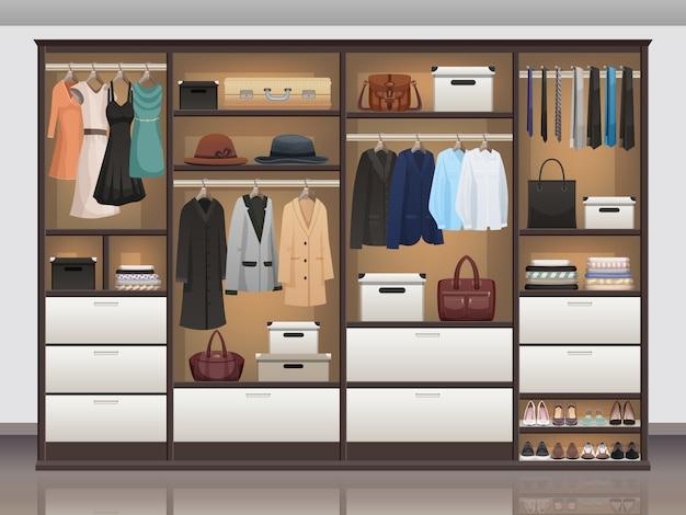 Garderobe opslag interieur realistisch Gratis Vector
