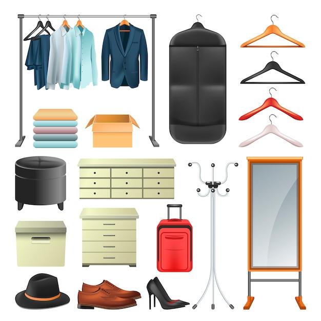Garderobekleding en dozen of hangers de vectorreeks van de pictogrammeninzameling Premium Vector