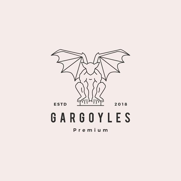 Gargouilles gargoyle logo vector overzicht illustratie Premium Vector