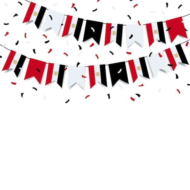 Garland met de egyptische vlag Premium Vector