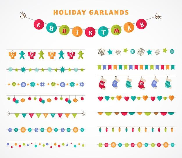 Garland - verzameling patronen, penselen, randen voor kerstmis en feest Premium Vector