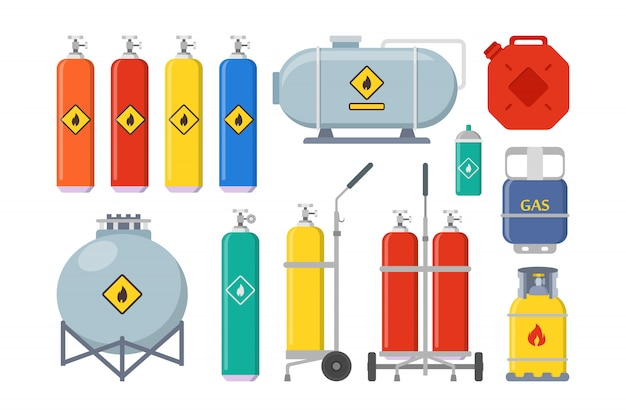 Gas ballonnen set Gratis Vector