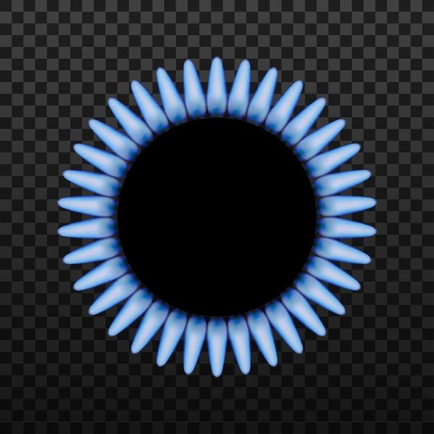 Gasbranderring met blauwe vlam Premium Vector
