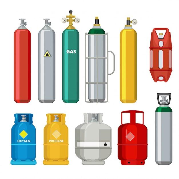 Gasflessen pictogrammen, aardolie veiligheid brandstof metalen tank van helium butaan acetyleen cartoon objecten geïsoleerd Premium Vector
