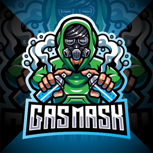 Gasmasker esport logo mascotte ontwerp Premium Vector