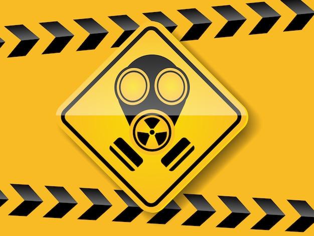 Gasmasker waarschuwing op gele achtergrond Premium Vector