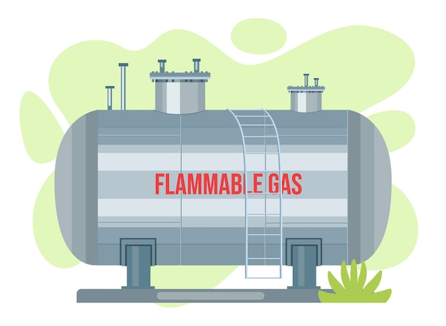 Gasreservoir vector tank. propaan icoon container. zuurstofgas cilindrische container brandstofopslag Premium Vector
