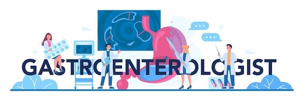 Gastro-enteroloog arts typografische koptekst. idee van gezondheidszorg en maagbehandeling. Premium Vector
