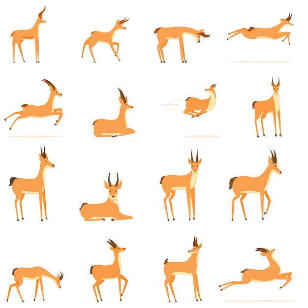 Gazelle pictogrammen instellen. cartoon set van gazelle vector iconen Premium Vector