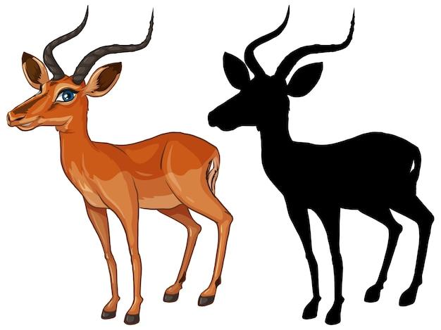 Gazelle stripfiguur en zijn silhouet op witte achtergrond Gratis Vector