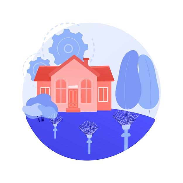 Gazon bewateringssysteem abstract concept vectorillustratie. gazonsproeisysteem, irrigatie, tuinslang, automatische bewatering, elektronische timer, pop-upsproeier, abstracte metafoor voor landschapsarchitectuur. Gratis Vector