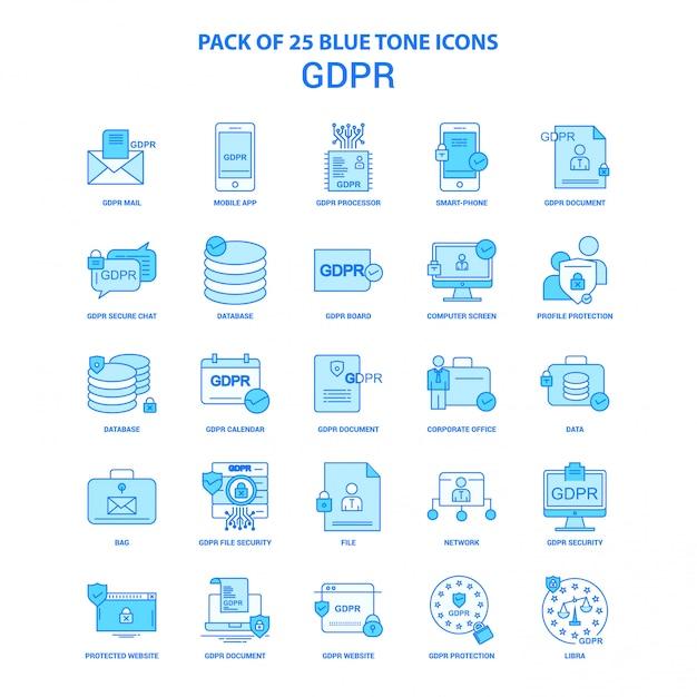 Gdpr blue tone icon pack Gratis Vector