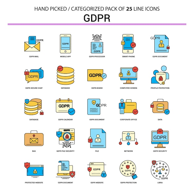 Gdpr flat line icon set Premium Vector