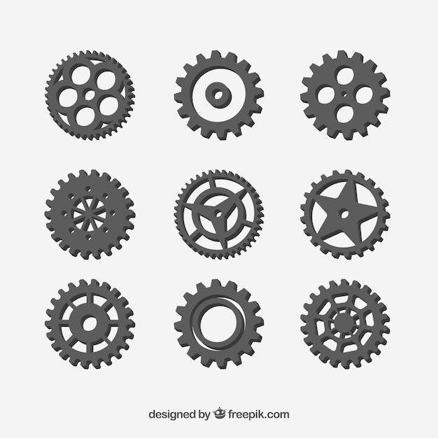 Gear collectie machine Gratis Vector