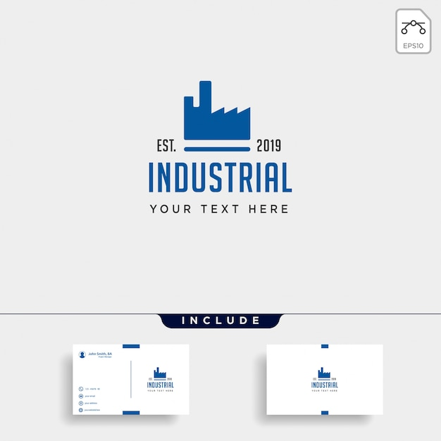 Gear fabriek logo ontwerp industriële vector pictogram element geïsoleerd Premium Vector