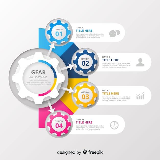 Gear infographic Gratis Vector