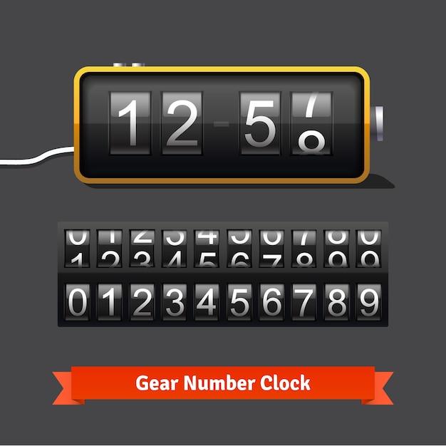 Gear klok en nummer teller sjabloon Gratis Vector