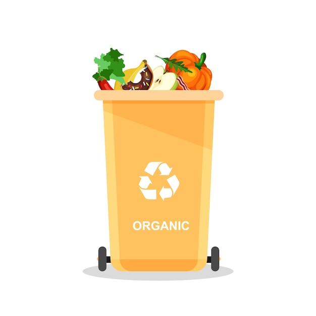 Geassorteerd biologisch afval in speciale urn. vector recycle concept. bakken voor recycling met gesorteerd afval en afval. Premium Vector